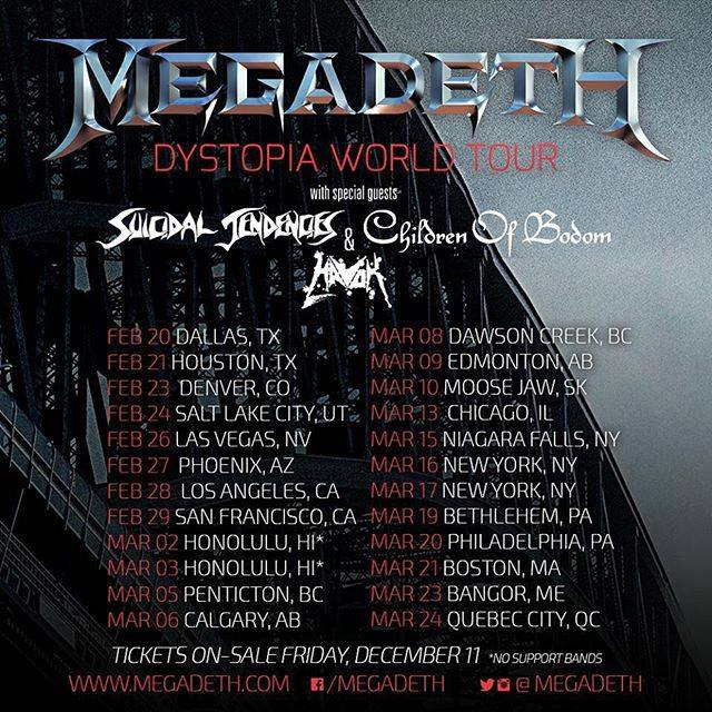 Megadeth Dystopia World Tour